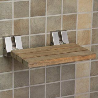 Wall Mount Teak Wood Folding Shower Seat   Brushed Nickel