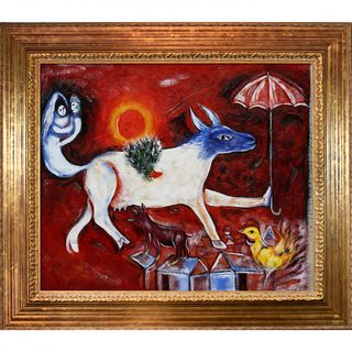 Marc Chagall The Cow with Parasol Framed Canvas Art