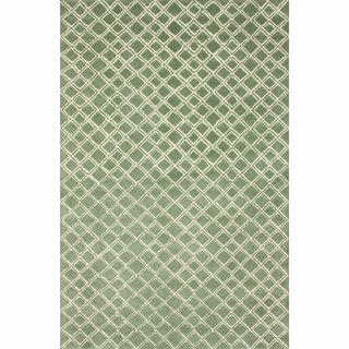 Handmade Moroccan Trellis Light Green Wool Rug (76 x 96)