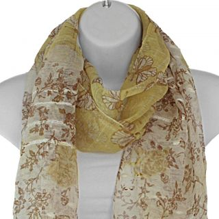 Hand woven Silk Yellow Butterfly in Rose Garden Scarf (India