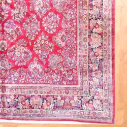 1920s Antique Persian Hand knotted Sarouk Red/ Navy Wool Rug (10 x 19