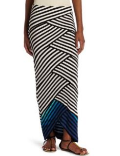 Nicole Miller Womens Patched Maxi Skirt Clothing