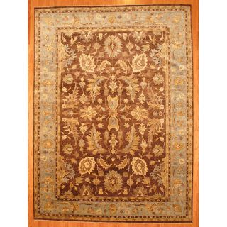 Indo Hand knotted Brown/ Light Blue Oushak Wool Rug (10 x 14