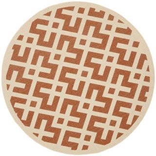 Poolside Terracotta/ Bone Indoor Outdoor Rug (53 Round)