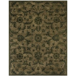 Handmade Antiquities Olive Green Wool Rug