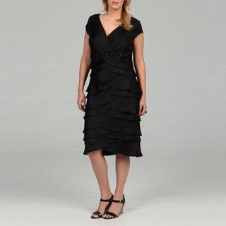 Jessica Howard Womens Plus Size Black Pleat Dress