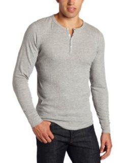 Bottoms Out Mens Thermal Henley Shirt, Light Heather Grey