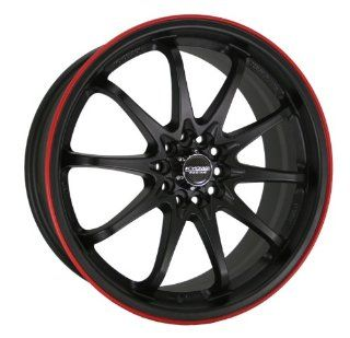 Kyowa Racing Series 206 Flat Black Red Stripe   18 x 7.5 Inch Wheel