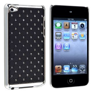Black/ Diamond Leather Snap on Case for Apple iPod Touch Generation 4
