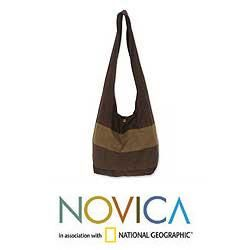Cotton Triple Chocolate Large Shoulder Bag (Thailand)