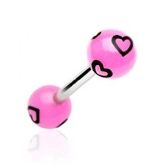 14g Surgical Steel Tongue Ring Barbell Body Jewelry Piercing with Pink