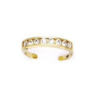 10k Yellow Gold Cubic Zirconia Toe Ring Jewelry
