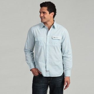 Lions Crest by English Laundry Mens Light Blue Multi Plaid Shirt