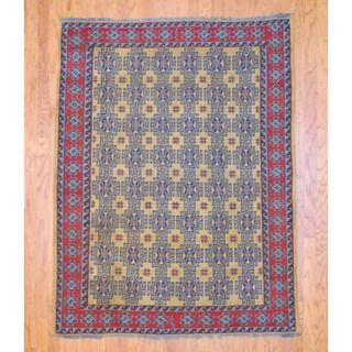Afghan Hand knotted Tribal Soumak Gold/ Light Blue Kilim Wool Rug (5