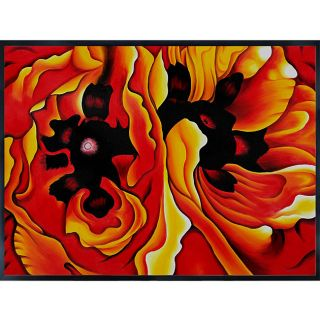 Keeffe Oriental Poppies Hand painted Framed Art