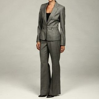 Anne Klein Womens Stone 2 button Single breasted Suit