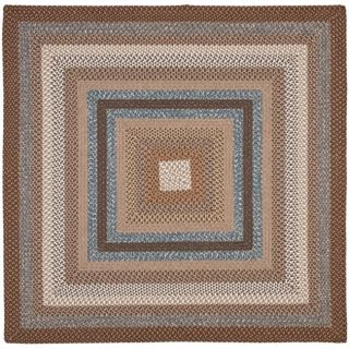 Hand woven Reversible Brown Braided Rug (8 Square)
