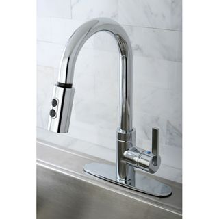 Modern Chrome Single Handle Faucet with Pull Down Spout