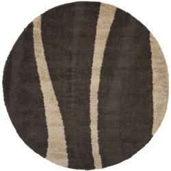 Ultimate Cream/ Dark Brown Shag Rug (6 7 Round)