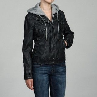 Collezione Womens Black Faux Leather Zip out Fleece Hoodie Jacket