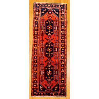 Persian Hand knotted Red/ Navy Tribal Hamadan Wool Rug (36 x 98