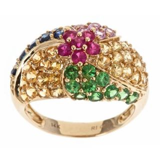 Yach 14k Yellow Gold Ruby, Tsavorite and Multi colored Sapphire Ring